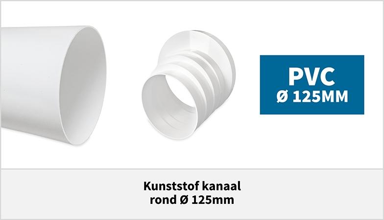 Kunststof ventilatiebuis 125mm PVC