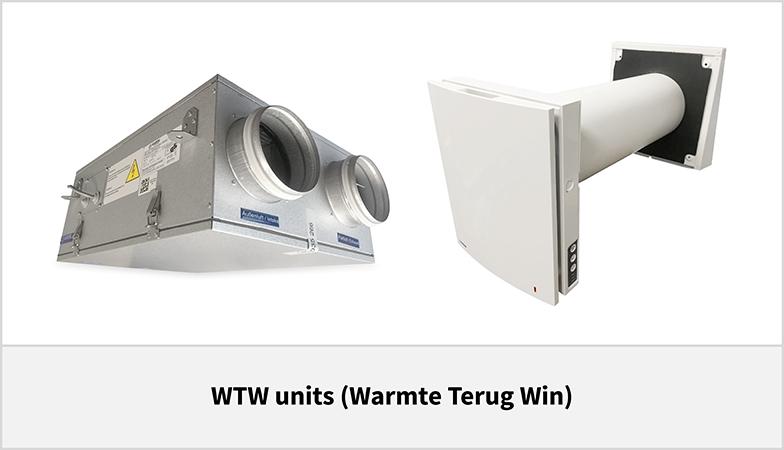 WTW-units (warmte terug win)